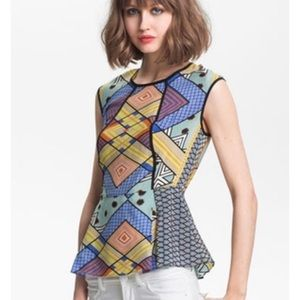 Geometric colorful peplum top